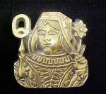 Queen Of Clubs Solid Brass Belt Buckle