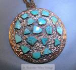 Large Copper And Turquoise Pendant Necklace Signed Bell
