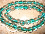 Brilliant Emerald Green Gold Swirl Murano Glass Beads 17in