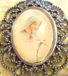 Virgin Mary With Lilly Pendant Silvertone Blessed Mother