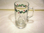 Footed Christmas Mug With Holly Trim
