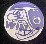 Win Helmeted Football Player Pin Back
