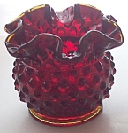 Fenton Ruffled Ruby Amberina Glass Hobnail Vase 1940s 3 In.
