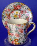 Chintz Cup And Saucer Lord Nelson Marina England Demitasse