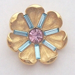 "Trifari Open Flower Pin Goldtone W/ Rhinestones 1.5"""
