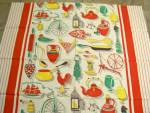 1950's Red Print Fabric Farm Theme