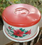Red Hibiscus Flowers Tin Litho Cake Carrier