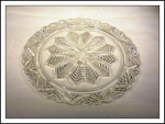 Crystal Pressed Glass Cake Plate/snowflake