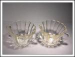 Ribbed Crystal Glass Creamer And Sugar