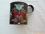 Toleware Tin Signed Large Handpainted Tin Cup Toleware