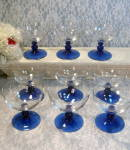 Vintage Cobalt Blue Crystal Footed Sherbet Wine Glass Set