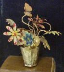 Metal Flower Filled Basket W/butterfly