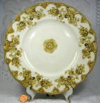 Brown Transferware Plate 1895 Victoria Upper Hanley Pansies Gold