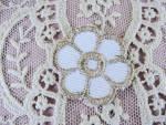 Vintage Small French Applique Trim Gold Metallic Thread