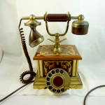 Inlaid Wooden Cased Antique Style Phone.