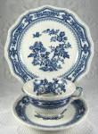 Masons Manchu Teacup Trio Blue Transferware Larger Plate