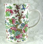 English Bone China Mug Chintz Peony Tree Tall Oriental Style Chintz