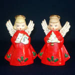 2 Japan Ceramic Christmas Angel In Red Gowns Figurines