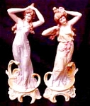 Rare Pr. Art Nouveau Lady Figurines Porcelain