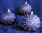Elegant Glittery Spiderweb Set 3 Tea Light Candle Holders
