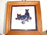 Framed Tile Of Cats