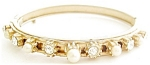 Faux Pearls Rhinestones Bangle Bracelet