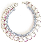Pale Blue Rhinestones Chainlink Bracelet