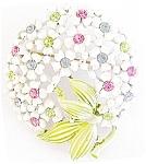 Spring Flowers Enamelled Rhinestone Brooch
