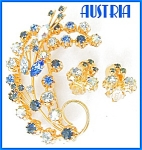 Blue Dazzle Austria Rhinestones Demi Parure