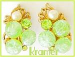 Kramer Lime Green Plastic Rs Faux Pearl Earrings
