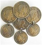 Faux Coins Brooch Elizabeth Regina Ii