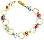 Millefiore Venitian Glass Beads & Circles Bracelet