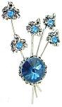 Fabulous Blue Rhinestones Rivoli Flower Brooch
