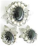 Dramatic Black Stone Faux Pearls Demi Parure