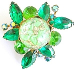 Juliana? Green Rhinestones Art Glass Brooch