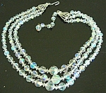 Amazing 3 Strand Aurora Borealis Crystals Necklace