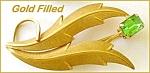 Gold Filled Elegant Peridot Rhinestone Flower Brooch