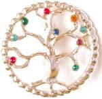 Tree Of Life Brooch With Rhinestones