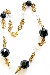 Black & Clear Glass Beads Necklace Loops Loops Loops