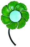 Colorful Flower Power Brooch Green Turqoise Black