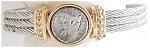 Contemporary Silvertone Goldtone Coin Cuff Bracelet