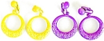 Bright Funky Flowered Hooped Earrings Purple & Yellow