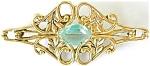 Victorian Revival Goldtone Brooch W Aqua Rhinestone