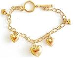 Goldtone Puffed Hearts Charm Bracelet