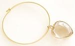 Glass Heart Bangle Bracelet