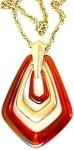 Tortoise Lucite & Goldtone Retro Pendant Necklace