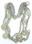 Multistrand Silvertone Coins Necklace
