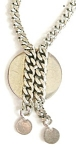 Silvertone Chunky Chain And Disc Necklace