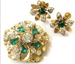 Green & Clear Rhinestones Brooch & Earrings