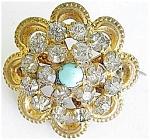 Rhinestones Turquoise Victorian Brooch